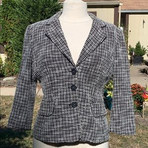 MICHAEL KORS Black & White Tweed Blazer